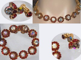 Fabulous WEiss signed Aurora borealis FLorette Necklace bracelet  and ea... - $195.00