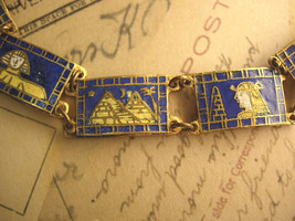 ANtique Deco  ENAMEL FIGURAL Egyptian Bracelet Cleopatra and the pymamids - $275.00