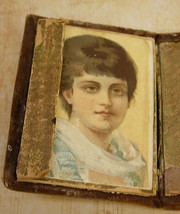 Minitaure Antique Sewing box kit 18th century with portrait inside and o... - $225.00