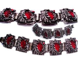 Vintage bracelet Art Nouveau bracelet  RED Czech molded glass Costume jewelry  L - $145.00