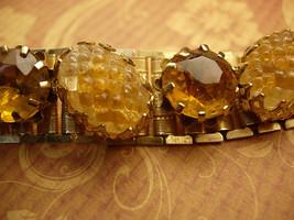 Vintage BOOKCHAIN bracelet Golden molded glass deco  BRACELET costume jewelry - $125.00