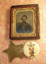 Antique Civil War Tintype and Gar medal plus celluloid pinback - $290.00