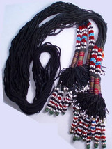 "AFRICAN tribal necklace BEADED ceremonial  55""  with tassels - $245.00"