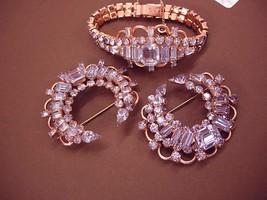 Kramer Alexandrite SIgned Bracelet 2 brooch  set GORGEOUS vintage  demi parure - $425.00