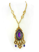 STUNNING Purple Chandelier Medieval necklace Goddess with aurora boreali... - $195.00