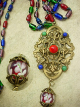 VIntage Czech RED Glass Pendant necklace with chain tassel and blown gla... - $225.00