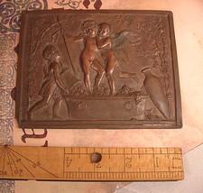 Rare Antique Bronze Cherub Coffin Plate Late 1800's plaque - $225.00