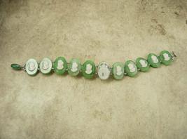 Vintage SIgned Czech Cameo Bracelet 3 Graces Czechoslovakia Goddess Nymphs - $125.00