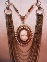 Vintage Angel Skin Coral Cameo Necklace genuine pearls Huge statement piece - $295.00