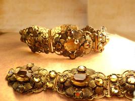 Antique Czech Bracelet golden topaz glass fancy filigree 7 1/2 long Extra long - $155.00