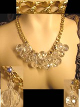 HUGE RUNWAY Hollywood Crystal Bauble Parure necklace and earrings STUNNING - $175.00