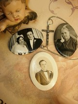 Estate Family portraits with Wedding necklace and sterling  crucifix - $85.00