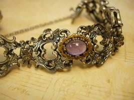 Antique  Amethyst baroque bracelet mixed metal ornate victorian bracelet  800 si - $185.00