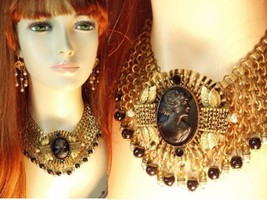 HUGE Victorian Mourning Cameo bookchain necklace brooch and earrings - $750.00