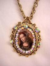 Vintage Jeweled HUGE Renaissance Icon Painted portrait Religious Reliqua... - $145.00