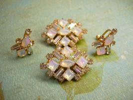 VIntage Moonstone and rhinestone duette brooch and screw on earrings - $75.00