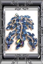 SIGNED Vintage WEISS BLUE Brooch Earrings BOOK PIECE A queens dream - $175.00