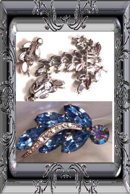 SIGNED Vintage WEISS BLUE Brooch Earrings BOOK PIECE A queens dream
