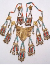 TREMENDOUS   Vintage Egyptian  MOTH tassel Necklace  and Earrings - $450.00