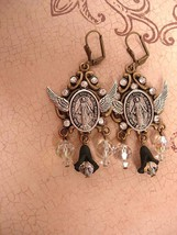 Sinners and saints Rosary Assemblage Earrings - $125.00
