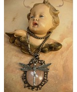 Dragonfly Necklace peruzzi silver watch chain Vintage Art Nouveau  Rose ... - $310.00
