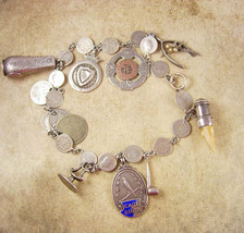 1855 Antique Sterling Fob Necklace LOADED With LARGE charms coins hallmarked Mus - $2,100.00
