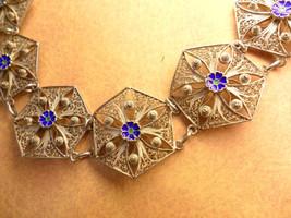 """VIntage  enamel filigree bracelet 8"""" long Cobalt blue flowers - $125.00"""