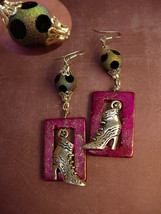 Victorian shoe earrings Charm earrings with Distressed PINK frames - $45.00