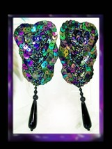 DIVA Glam HUGE pure glitz PEacock glass beaded Drop Earrings - $30.00