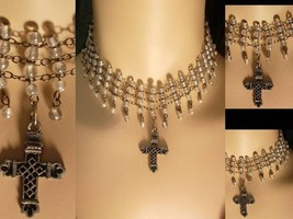 Gothic Edwardian style 130 glass bead Wide Cross Drop NEcklace - $49.99