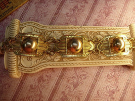 Vintage Art Deco bracelet rose gold and yellow gold filled geometric links - $85.00