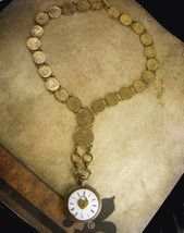 French Pocketwatch Fob Necklace napoleon coins Antique face - $245.00