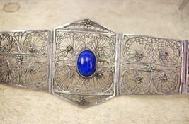 Vintage sterling filigree  Egyptian revival bracelet EXOTIC WIDE Blue lapis - $245.00