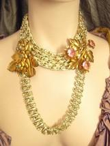 DRAMA Fabulous retro HUGE floral DEsigner 5 stand rhinestone choker neck... - $65.00