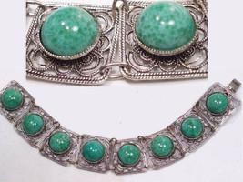 Vintage  DECO BRacelet Peking  GLASS Fancy Filigree costume jewelry - $175.00