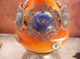 Vintage sterling  bracelet enamel  European blue silver filigree celestial desig - $175.00