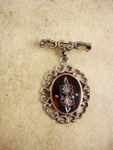 Victorian Tortoise MOP Pietra dura Brooch sterling chandelier signed PGG mexico - $145.00