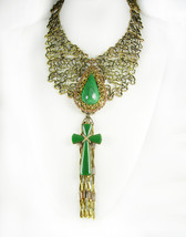 Statement necklace Malachite cross with huge tassels Dramatic - $245.00