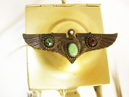 Vintage Deco Winged Brooch jeweled  Egyptian revival Grand tour with VUL... - $220.00