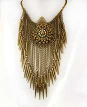 Bohemian necklace Rhinestones and tassels statement choker - $195.00