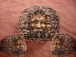 HUge Vintage Bacchus Relief bracelet hinged with figural mythology gargoyle God - $245.00