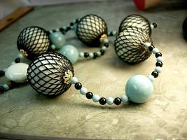 Japan signed necklace Vintage bizarre necklace Black net - $75.00