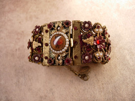 MIchal Negrin bracelet Victorian  SIgned wide brass and floral with pearls - $395.00
