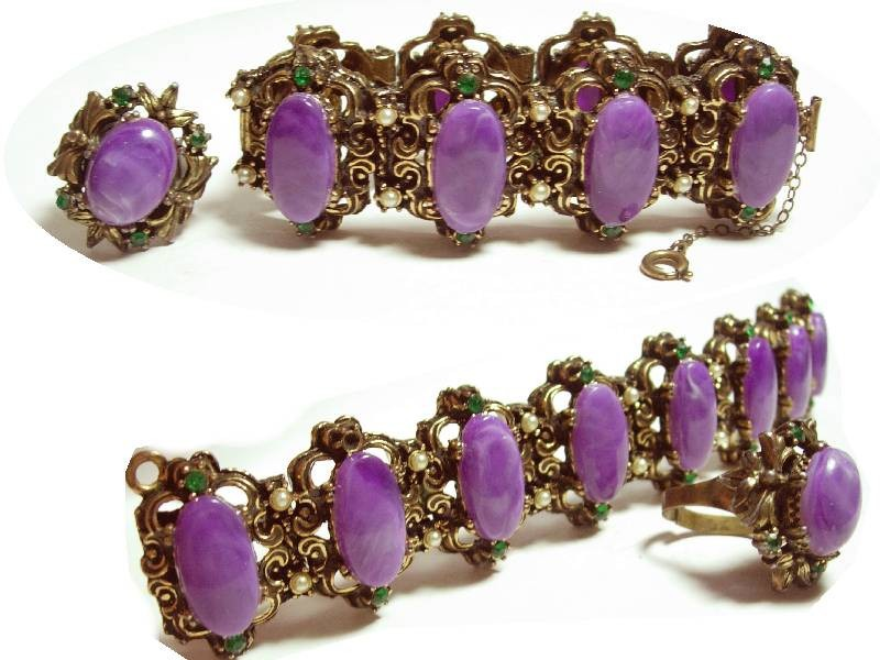 Primary image for VIntage bracelet & ring Suffragette purple cabachon fancy medieval