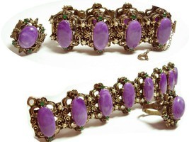 VIntage bracelet & ring Suffragette purple cabachon fancy medieval - €155,46 EUR