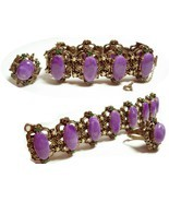 VIntage bracelet & ring Suffragette purple cabachon fancy medieval - $244.90 CAD