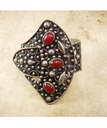 Antique buckle Bracelet etruscan carnelian jewels hinged hand wrought - $850.00
