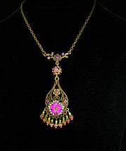 Bohemian Necklace Pink Chandelier Gypsy rhinestone pendant - $85.00