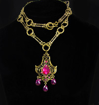 Pink Bohemian necklace chandelier drops baroque chain - $175.00