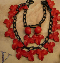 Vintage Red Necklace Celluloid Funeral Flower earrings gothic - $125.00